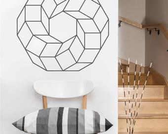 Cubed Ring Vinyl Decal   Laptop or Wall   Mandala Sacred Geometry   Geometric Yoga   Rainbow Holographic Sticker