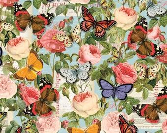 1/2 yd Lula Bijoux Paris Spring Butterflies by David Textiles Fabrics CA-3046-5C-2