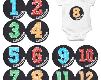 Baby Boy or Girl Month Stickers Monthly Baby Sticker Monthly Baby Stickers Baby Month Stickers Milestone Stickers Photo Stickers Chalk 1134