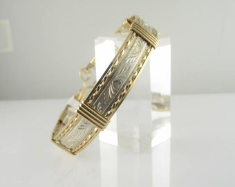 WSB-0061 Sterling Silver & Gold Filled Handmade Wire Wrapped  Bangle Bracelet