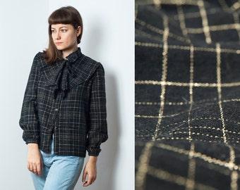 SALE price! Vintage Wool Blend Ruffle Blouse