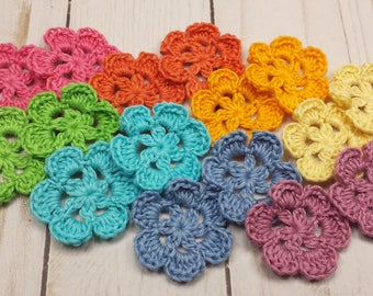 Rainbow of Crocheted Flowers, Small Crochet Flower Appliques, 1.5 inch Posies, Hand Crocheted Flowers, Set of 16 Pieces