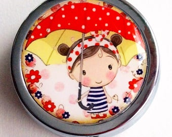 Pill. Jewlery and little treasure/ BOXE/ Little girl with her umbrella