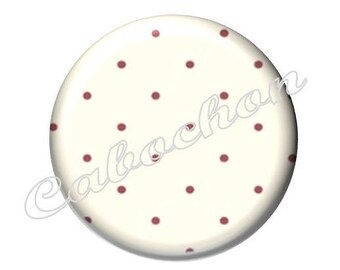 2 cabochons 25mm glass, fairy tale Red Riding Hood, polka dots