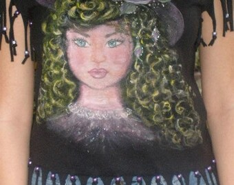 Portrait of a hand-painted old-fashioned young girl - black tee with hand cut fringe and beads