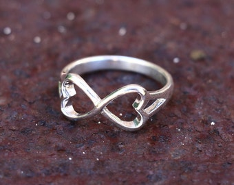 Infinity Ring, Heart Ring, Double Heart Ring, Rings, Sterling Silver Ring, Silver Ring, Fashion Ring , Silver Jewellery, Jewellery