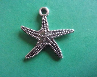 Starfish pendant, silver-tone metal - 2.5 cm x 2.5 cm
