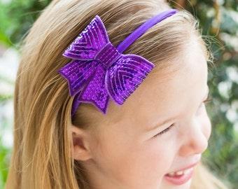 Purple Bow Headband, Purple Headband, Purple Hair Bow, Hard Headband, Purple Hard Headband, Sequin Bow Headband,  Purple Flower Girl