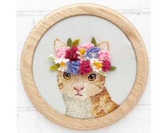 Little Cat with Blossoms Hand embroidery Pattern pdf instant download