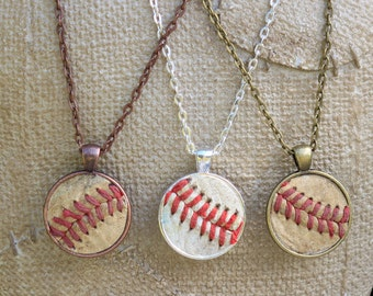 Real Baseball Seam Round Leather Pendant Necklace • baseball mom gift • personalized • sports mom gift • baseball necklace •w/ jersey number
