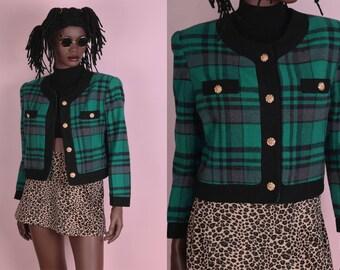 80s Plaid Cropped Jacket/ Medium/ 1980s