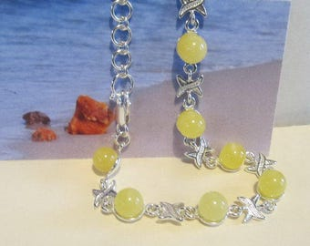 Amber Bracelet  Sterling Silver 925, 8 round beads Natural Baltic opaque yellow egg yolk vintage for adult medical healing ecological