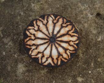 """Gothic Window - Woodburned Wood Medallion - 1.5"""" Magnet"""