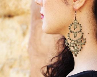 Khaki statement lace earrings //tatted earrings//beaded earrings//Lace jewelry//lace earrings