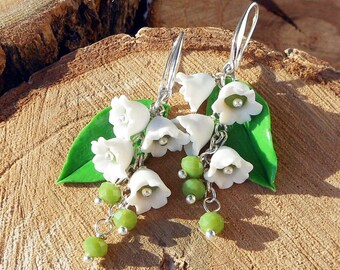 Earrings Lily of the valley polymer clay Lily jewelry Floral jewelry may lily Floral Dangle earrings Gift for women Summer cute earrings