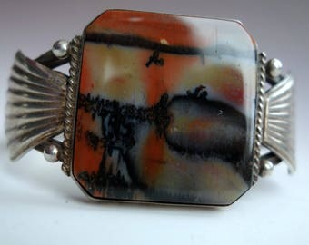 Superb Petrified Wood Stamped Sterling Bracelet