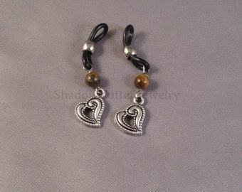 Eyeglass charms tiger eye and heart silver tone, black and silver eyeglass holders, chainless eyeglass accessories, spectacles sunglasses