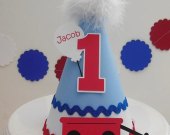Little Red Wagon Party Hat - Blue, Red, Black and White - Personalized