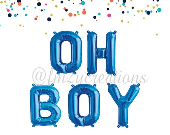 OH BOY BALLOONS | Oh Boy | Oh Boy Letter Balloons | Oh Boy Baby Shower | Oh Boy Banner | Foil Letter Balloons | It's a Boy Baby Shower