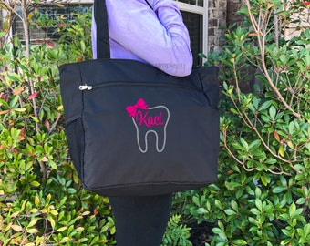 Dental hygienist Gift - Dentist Gift - Dental Gifts - Dentist Graduation Gift - Personalized Gift - Tooth Tote Bag - Monogrammed Dental Gift