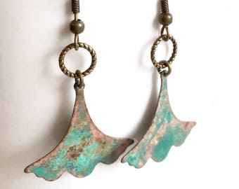 Ginkgo Leaf Earrings - Verdigris Patina, Leaf Jewelry, Botanical Jewelry, Leaf Earrings, Patina Jewelry