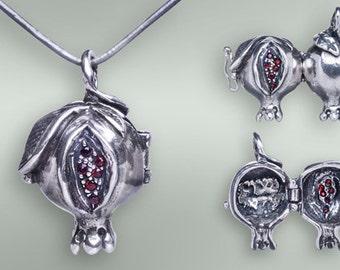Pomegranate locket  necklace  with natural garnet gems.