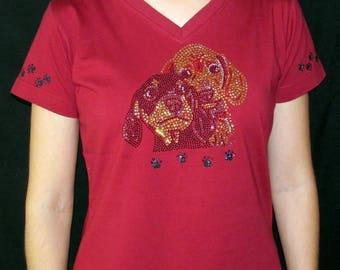 Rhinestone Puppies Puppy Dog Custom Women's Cute Fun Glitter Cool  Bling  V-neck T shirt Cindy's Handmade Shirts Boutique