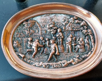 "Antique Electroplated Silver On Copper DIsh By Elkington 4 1/2"" x 3 1/2"" Marked"