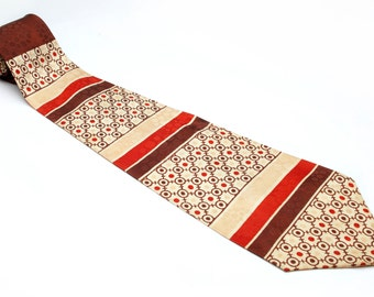 Vintage Men's tie from TOWNCRAFT DELUXE Cravats bold retro design of a brown red circles and stripes on a tan bkgd 50's Necktie #2
