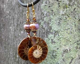 Charoite and Gold Ammonite Fossil Dangles