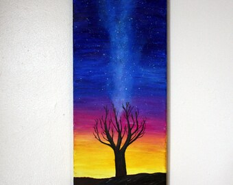 "20"" x 8"" Night Sky Painting, Acrylic on Canvas, Tree Painting Wall Art"
