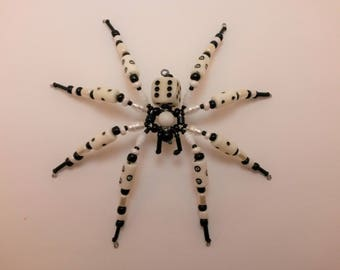 White and Black D6 Beaded spider