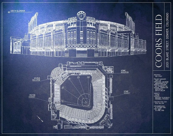 Coors field blueprint colorado rockies vintage baseball malvernweather Choice Image