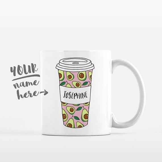 Avocado Mug Pattern Tumbler Cup Drawing Personalized Mug Custom Coffee Mug Name Coffee Cup Personalized Gift for Women Avocado Gift for Mom