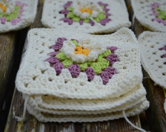 Crochet Flowers Baby Blanket Granny Square Afghan Vanilla Ecru Yellow Pink Violet Purple Lilac Green Custom Colors by dodofit on Etsy