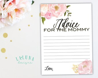 Advice for Mommy To Be Card, Advice for the New Mommy, Advice for New Mom, Baby Shower Printable, Printable Baby Shower Game, Pink Floral