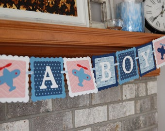 Airplane Banner, Take Flight, Airplane Birthday, Airplane Baby Shower, You Pick Colors, Airplane Party, Airplane Decoration