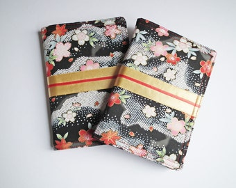 A6 'Kimono' Notebook Cover, Diary Cover, Journal Cover, Japanese Cotton Fabric, Black, Red, Gold, Fits Hobonichi A6 Planner, UK Seller