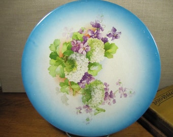 K.T. & K - Decorative Plate - Bright Blue Rim - White Hydrangeas - Purple Flowers