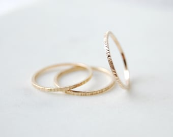 Gold Filled Stacking Rings, Small Stacking Rings, Birch Bark Stacking Rings, Stacking Rings, Gold Rings, Simple Rings