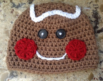 Boy/Girl Lil Cookie Gingerbread Beanie Hay