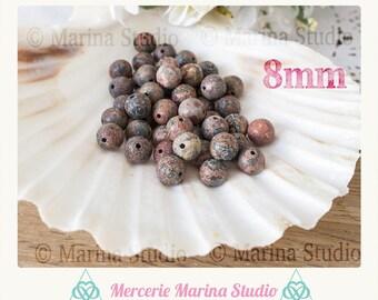 Genuine pearls matte Leopard skin Jasper 6mm or 8mm or 4mm - gemstone naturellle