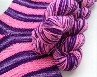 Hand dyed self striping merino sock yarn - Glow On