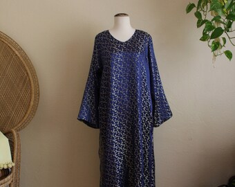 Vintage blue and gold caftan dress