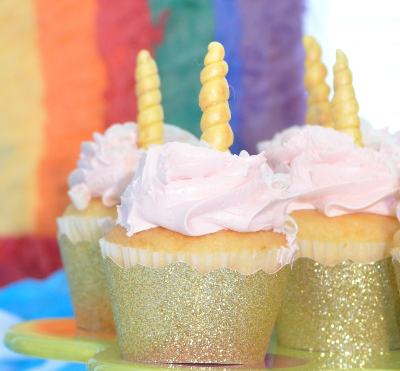 Unicorn Party Decor Unicorn Horn Cupcake Toppers Edible