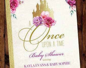 Storybook Invitation, Princess Baby Shower Invitation, Once Upon a Time Invitation, Little Princess Shower Invitation, Fairytale Invite #001