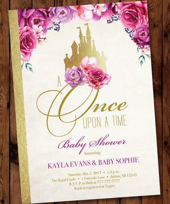 Storybook Invitation Princess Baby Shower Invitation Once