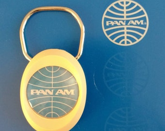 Pan Am Airways Vintage Airline Collectible Key Ring Key Chain 1980s Pan American Airways