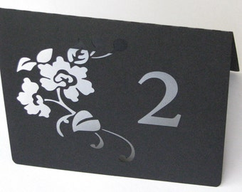 Floral table number die cut in any colour wedding place settings set of 10