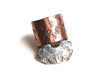 Stamped Tribal Copper Band Ring (R482)